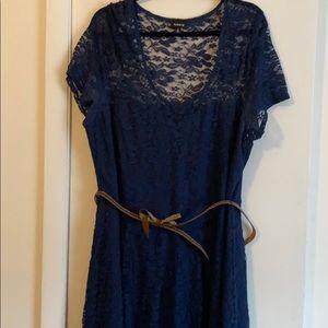 Blue Lace Dress with Studded Belt!